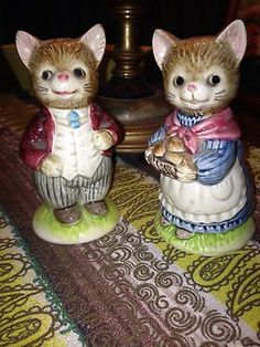 Vintage Otagiri Japan Ceramic Dressed UP CAT Kitten Salt Pepper Shakers