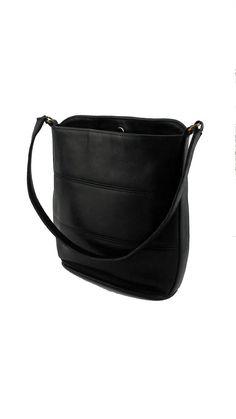 1102647d61c61 Vintage Coach Black Tribeca Leather Bucket Hobo Bag Style No. 9083 Designer  Handbag Made in USA