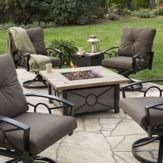 Red Ember Dillon Gas Fire Pit Table Chat Set   Fire Pit Patio Sets At  Hayneedle