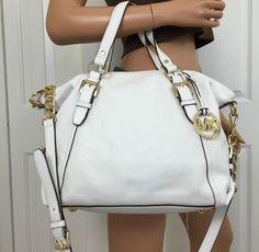 Michael Kors White Gold Leather Satchel Crossbody Medium Shoulder Bag Purse   MichaelKors  ShoulderBag d435ea6966bd9