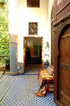Love the tall ceilings, windows, doors, and plant wall. Hate the floor. Nina & Mohamed's Textured, Patterned Paradise in Morocco