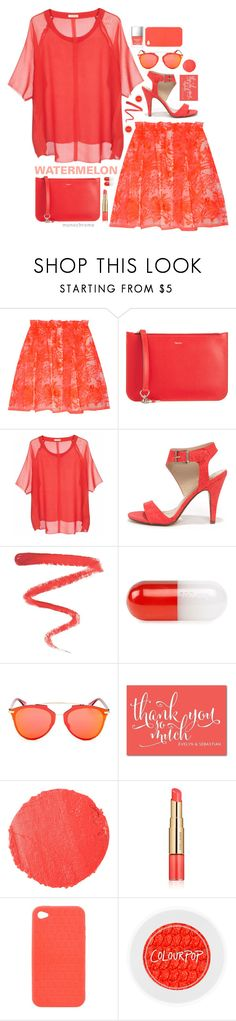 """Watered Down Red."" by s-elle ❤ liked on Polyvore featuring Maje, Valextra, American Vintage, My Delicious, Ellis Faas, Jonathan Adler, Christian Dior, Tom Ford, Estée Lauder and Fendi"