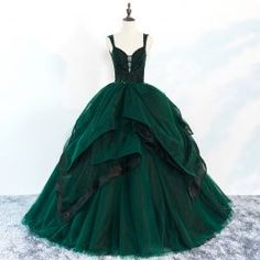 e8b89b94b3a Chic   Beautiful Dark Green Prom Dresses 2018 Ball Gown Beading Cascading  Ruffles Spaghetti Straps Backless Sleeveless Floor-Length   Long Formal  Dresses