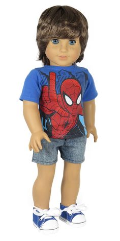 American Boy Doll Clothes - Silly Monkey - Royal Blue Spider-Man Tee and Denim Shorts, $18.00 (http://www.silly-monkey.com/products/royal-blue-spider-man-tee-and-denim-shorts.html)