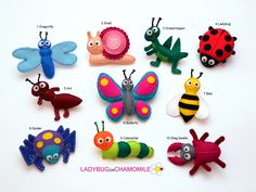 INSECTS and BUGS felt magnets - Price per 1 item - make your own set - Butterfly,Ant,Beatle,Spider,Grasshopper,Ladybug,Bee,Dragonfly,Snail by LADYBUGonCHAMOMILE on Etsy https://www.etsy.com/uk/listing/166384319/insects-and-bugs-felt-magnets-price-per