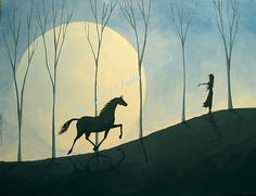 Come here my pretty horse! Cute little horse silhoutte painting with moon and girl. Viiibe. Debbie Criswell