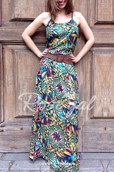 Bohemian Spaghetti Strap Sleeveless Floral Print Women's Maxi Dress
