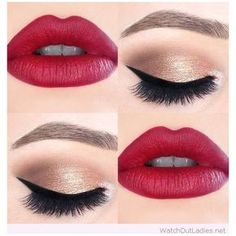 Gold and black eye makeup with hot red lips ❤ liked on Polyvore featuring beauty products, makeup, lip makeup, eyeshadow, beauty, lips and lipstick