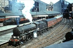 """LNER/BR CLASS B1 4-6-0 #61264 (unnamed) """"A colour rail slide taken at the long gone Nottingham Victoria station - from an alley off Clare Street. June 1963""""  Photo: Fotorus"""