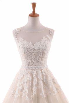 Vintage Blonde Wedding Dress Køb Direkte Fra Kina 2017 Backless Appliques  Blonde Floor-Length Tulle Vestido De Noiva ea6519de6bae