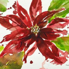 A cheerful poinsettia is a lovely watercolor bouquet on a Christmas card for someone special. Here's how to paint it with a YouTube tutorial
