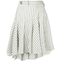 Loewe striped skater skirt (26,280 MXN) ❤ liked on Polyvore featuring skirts, white, high-waisted skirt, white skirt, high-waisted skater skirts, pleated leather skirts and high-waist skirt