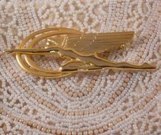 Gold Art Deco Brooch Pin by BeverlysBazaar on Etsy