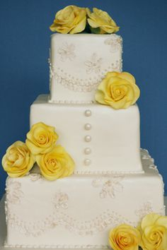 Elizabeth's Wedding Cake - The brush embroidery was done to create a lace-like look, which was inspired by the lace dress that the bride wore, which was worn by her grandmother. - http://apieceocake.com/gallery/album/wedding/page13#