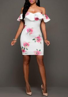 16.37 White Floral Print Ruffle Boat Neck Backless Prom Evening Party Mini  Dress online with cheap. Bychicstyle.com ec15bb534