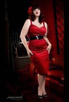 The Vamp Dress in Red with Black Dots by Deadly Dames - Plus Sizes