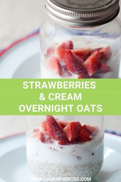 These Strawberry Overnight Oats have the perfect texture, creamy taste, and fresh flavor we all love from that strawberries Strawberry Overnight Oats, Overnight Oatmeal, Gluten Free Recipes For Breakfast, Free Breakfast, Breakfast Ideas, Oats Recipes, Drink Recipes, Dinner Recipes, Homemade Oatmeal