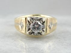 Vintage Men's Ring with Interesting Diamond Center 4M1WJL-N by MSJewelers on Etsy https://www.etsy.com/listing/205812089/vintage-mens-ring-with-interesting