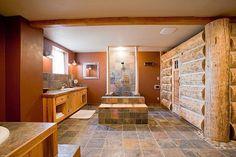 Spa Bathroom with Log Sauna - no shower curtain