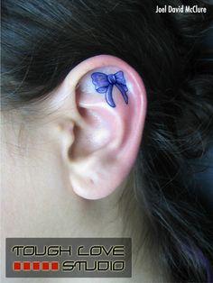 Bow Ear Tattoo   Joel David McClure   Tough Love Studio   #Ear #Tattoo