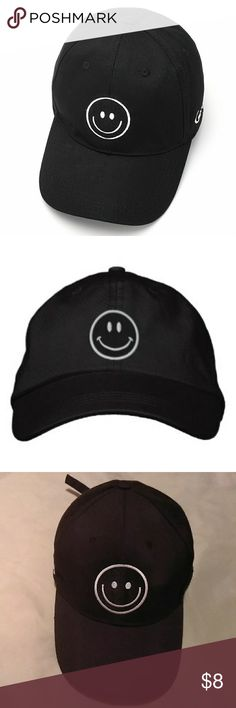 Smiley face cap Smiley face black cap with adjustable strap. Accessories Hats