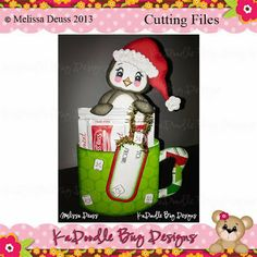 Penguin Cocoa Holder Paper Piecing Pattern, Cutting File, Scrapbook, Silhouette Studio, SVG File, MTC, SCAL, KaDoodle Bug Designs