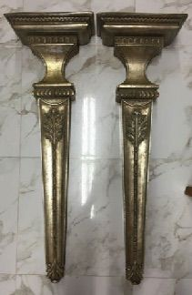 """Pair of tall silvered brackets for display. These light weight brackets easily attach to the wall to give your room a fast and practical classical accent. 14"""" x 7"""" x 42"""" long. SOLD"""