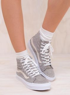 3ea15be6f8be1 Vans Frost Gray True White Sk8-Hi Slim J S