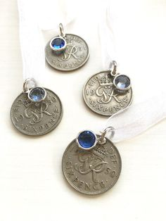 Lucky British Sixpence Wedding Bouquet Charm by SilverBlissShop