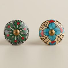 One of my favorite discoveries at WorldMarket.com: Green and Ivory Geometric Ceramic Knobs, Set of 2