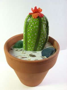Hand Painted Cactus Rock in a Terra Cotta by SallyStones on Etsy