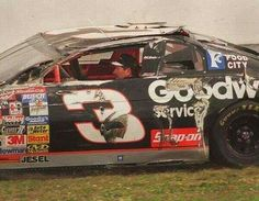 Dale Earnhardt got back into his flipped race car and drove it to the garage at Daytona 500 in 1997 Nascar Crash, Nascar Racing, Auto Racing, Dirt Racing, Dale Earnhardt Crash, Nascar Wrecks, Terry Labonte, The Intimidator, My Champion