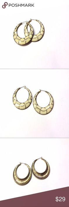 Vintage Cream & Gold Tone Hoop Earrings Gorgeous vintage gold tone hoops with inlaid cream colored enamel. C2 Vintage Jewelry Earrings