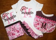 Custom Western Cowgirl Baby Girl Gift Set - Ruffle Onesie, Bib and Burp Cloth.
