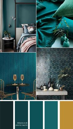 Teal color home decor Idea - 12 Teal Home color palettes : Teal color with gold . Teal color home decor Idea - 12 Teal Home color palettes : Teal color with gold accents Colorful Decor, Colorful Interiors, Bedroom Color Schemes, Teal Living Room Color Scheme, Interior Colour Schemes, Bedroom Color Palettes, Home Color Schemes, Blue And Green Living Room, Apartment Color Schemes