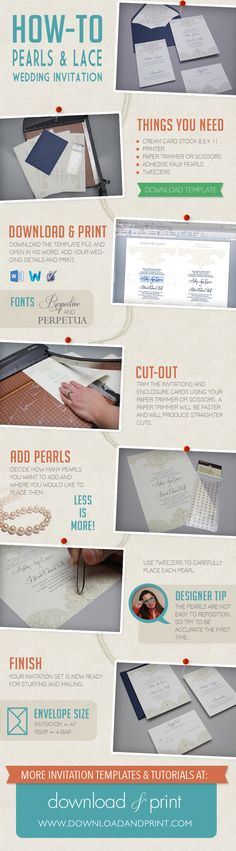 How-to make a pearls and lace wedding invitation using #DownloadandPrint templates. http://www.downloadandprint.com/blog/diy-tutorial-pearls-lace-wedding-invitation-set/