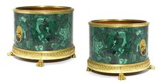 Russian Neoclassical style gilt bronze mounted malachite veneered jardinières