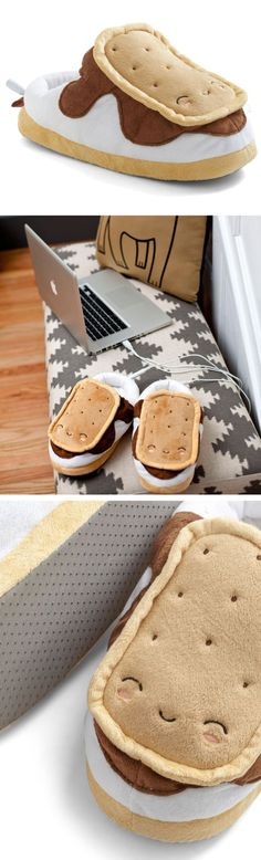 Snugly S'mores // heated USB foot-warmer slippers... for those who like novelty and toasty toes on cold winter evenings... #product_design