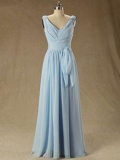 V-neck Chiffon Floor-length Ruffles Online Bridesmaid Dress - dressesofgirl.com