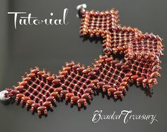 Rich Garnet Lace - beadweaving bracelet tutorial with two-hole Superduo beads and seed beads size 15/0. Beaded lacy bracelet in rich colors of red, garnet, gold and bronze / Bracelet pattern / Beaded lace / Superduo pattern / Seed bead pattern.