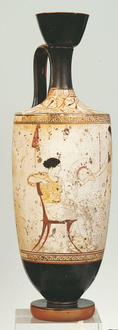 White-Ground lekythos, Warrior departing By the Achilles Painter Greek (Classical) c. 440 BCE Terms to know: 'white-ground technique' Classical Period, Classical Antiquity, Mycenaean, Minoan, Ancient Greek Art, Ancient Greece, Hellenistic Art, Greek Paintings, Greek Mythology Art