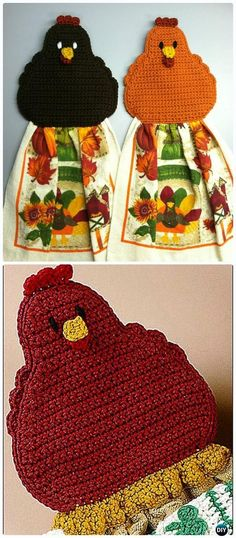 Crochet Chicken Topper / Coaster Free Pattern - Chicken Free Patterns by Kelly Meyer Crochet Home, Crochet Gifts, Love Crochet, Crochet Baby, Knit Crochet, Crochet Geek, Crochet Towel Topper, Crochet Towel Holders, Crochet Chicken
