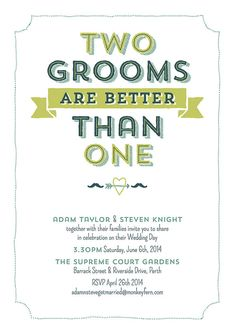 Two grooms are better than one V2 Digital personalized print-ready equal love wedding invitation and save-the-date design
