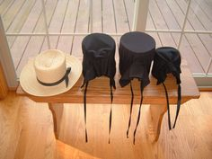 Bonnets on a bench. All are different......Amish Life