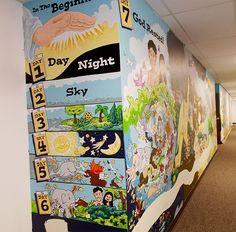 Mural is a journey through the Bible Kids Church Decor, Kids Church Rooms, Sunday School Decorations, Church Nursery, Church Crafts, Church Ideas, Kids Room, 7 Days Of Creation, Sunday School Rooms