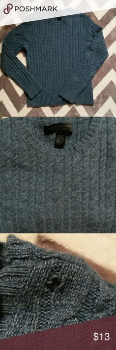 Vintage Express Cashmere Blend Sweater Teal blue marl cable knit sweater. Lightweight and soft. 40% wool, 30% viscose, 20% angora & 10% cashmere. Small hole on upper left shoulder where plastic hanger snagged it (reflected in price). I have the extra thread and I'm sure it can be sewn. Some pilling. Size small. Really beautiful. 1st pic shows the color accurately. Express Sweaters Crew & Scoop Necks