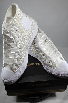 dc500598c2e Bridal Converse- Wedding Converse- Bling   Pearls Custom Converse Sneakers-  Personalized Chuck Taylors