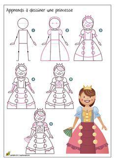 Apprends à dessiner une princesse Basic Drawing, Drawing Skills, Step By Step Drawing, Drawing For Kids, Art For Kids, Pixel Art Dauphin, Pixel Art Coeur, Cartoon Drawings, Easy Drawings