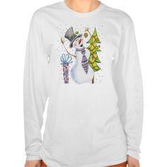 Happy Snowman Long Sleve T - Christmas Jumper Tee T Shirt, Hoodie Sweatshirt