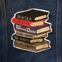 Horror Classics book stack large patch Dracula by LittleLiterary